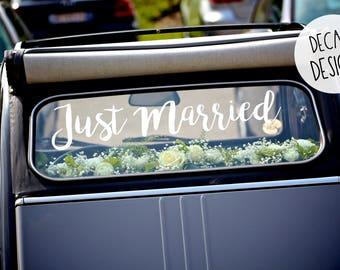 Just Married autocollant voiture, Just Married décorations pour voiture, autocollant véhicule, de mariage personnalisé mariage voiture autocollant