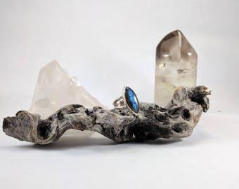 Labradorite blue flash ring