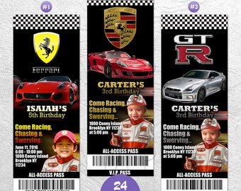 Ferrari Invitation, Ferrari Birthday Party, Ferrari Ticket Invitation, Ferrari Race Cars Invitation, Sports Car Invitation, Sports Car Party