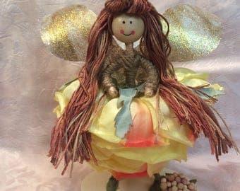 Summer Fairy, Flower Petal Fairy, Fairy, Pink Fairy, Collectible Fairy, Fairy Doll, Spring Time Fairy, Woodland Fairy, Miniature Fairy
