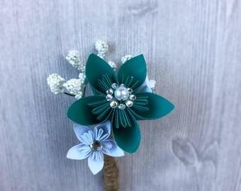 Men's Teal Flower Boutonniere - Paper Flower Boutonniere - Alternative Wedding Flowers - Rustic Wedding Flowers - Groom's Flower Accessory