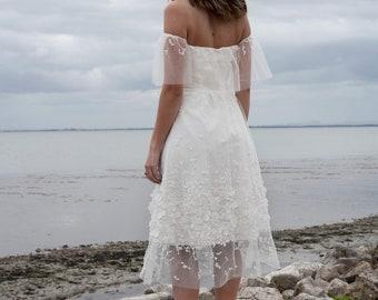 Boho wedding dress, off shoulder wedding dress, bohemian, rustic wedding dress, unique wedding dress, fairy wedding - Linnea dress