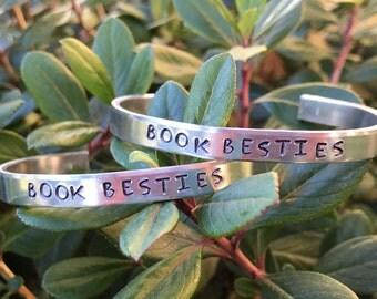 2 Book Besties cuff bracelets. Aluminum or Copper.
