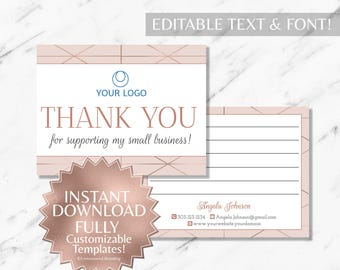 Rose Gold and Blush Pink Hair Salon and Monat Business Thank  You Card INSTANT Template