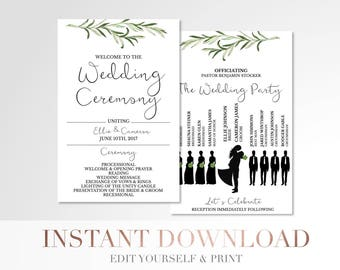 Printable Simple Greenery Wedding Program // Custom Program // Silhouettes Wedding Program // Laurels and Leaves // Wedding Stationery