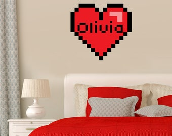Valentine decal Unofficial Pixel Heart wall sticker bedroom decal Mine craft decal for gamer birthday Wall decal Retro video games