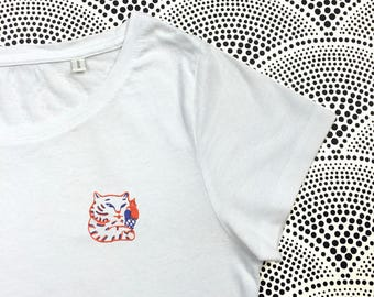 White T-shirt woman/child's embroidered Tiger ice