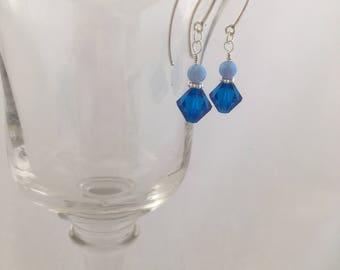 Swarovski Crystal, Opal, dangle, drop earrings, Blue, Fire Opal, Sterling Silver