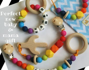 Unique Baby Gift~Baby and Mum Gift Set~Teething Jewelry~Teething Necklace~Teether Toy~Personalised Baby Shower Gift~Baby Girl~Baby Boy Gift