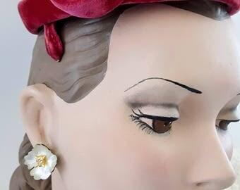 Vintage 1940's Pink Velvet Topper | Vintage Pink Hat |