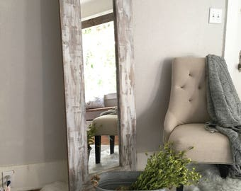 white washed rustic floor mirror distressed farmhouse full body mirror wooden frame full length - Wood Frame Full Length Mirror