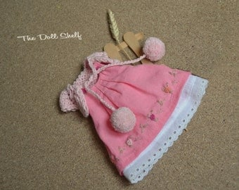 Pink doll dress, knitted bolero and underskirt, pink dress for 9 -10 -12 -14 -16 -18 inch doll - pink doll clothes - waldorf doll clothes