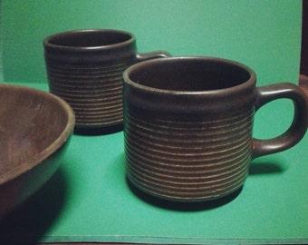 Retro Stoneware Brown Mugs / Retro Stoneware Brown Cups (2)
