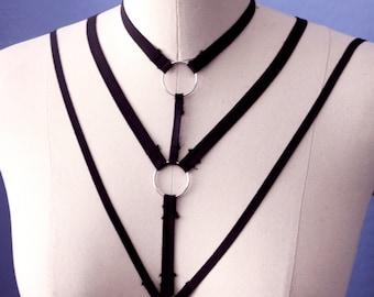 Black Elastic Chest Harness
