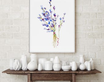 Watercolor Lavender Painting, Print of Original Painting, Floral Wall Art Decor, Minimalist Botanical Drawing, Nature Image