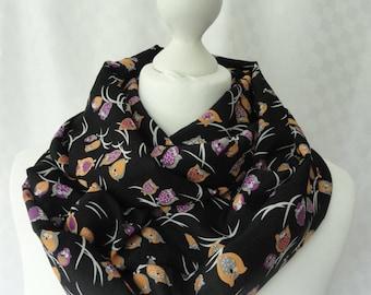 Owl print infinity scarf, Owl print scarf, Cute owl scarf, Scarf for her, Lightweight scarf, Fashion scarf