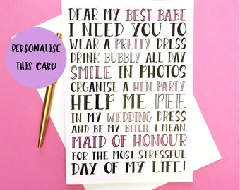 Funny Maid Of Honour Card, Maid Of Honour Card, Be My Maid Of Honour Card, Wedding Card, Funny Bridesmaid Card, Personalised Wedding Card