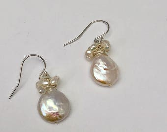 sterling silver wire wrapped freshwater pearl dangle earrings