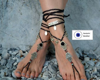 Black and Silver HAMSA BAREFOOT SANDALS foot jewelry hippie sandals toe ring anklet crochet barefoot tribal sandals yoga hand of fatima
