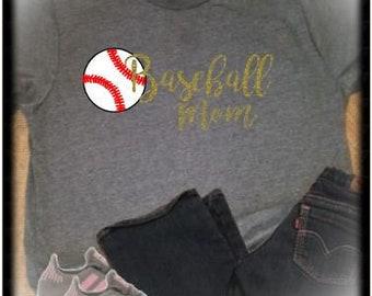 Baseball Mom T Shirt  Game Day TShirt  Moms Baseball T Shirt  Glitter Baseball Tee  Sports LIfe  Sports Mom