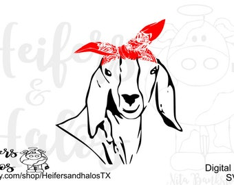 Bandana Goat digital cut file for cricut and silhouette great for t-shirts, decals, cups, svg, pdf, png, eps, dxf, studio3