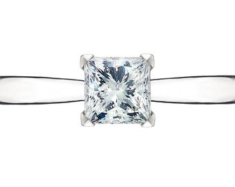 1 carat GIA certified princess (square) cut diamond engagement ring
