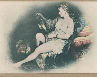 Behold the Mirror | 1800's Vignette Antique Postcard | Scrying | Boudoir Portrait | Risqué Antique Erotica | Hand Tinted Gilt | 19th Century