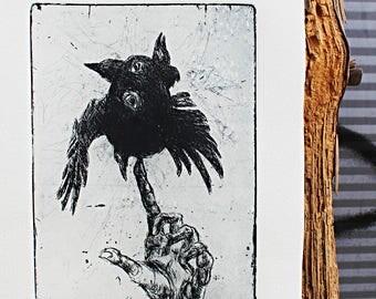 art & collectibles,prints,etchings,engravings,original etching,black bird,intaglio etching,engraving art,bird creature art,bird spirit totem