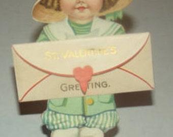 Nice Vintage Stand Up Valentine Of Little Girl