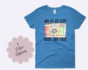 Adjust Your Focus Shirt, Camera Shirt, Photography Shirt, Photographer Shirt, Snapshot Tee, Photography Clothing, Ladies Shirt, Womens Shirt
