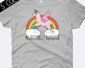 Majestically Awkward Shirt, Llama Shirt, Llamicorn Shirt, Rainbow Shirt, Anti Social Shirt, Kawaii Shirt, Ladies Shirt, Womens Shirt