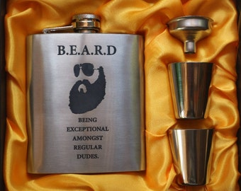 B.E.A.R.D // Gift for Him // Funny Flask // Hip Flask for Men // 21st Birthday Gift // 7 oz