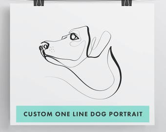 Custom Dog, Pet Portrait - With One Line - Personalized Art Print
