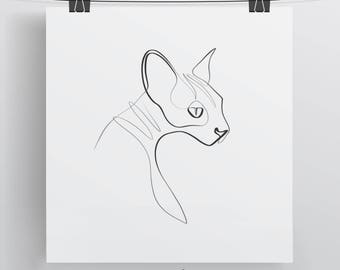 Sphynx Cat Art, Cat Print, Cat Gift Ideas, Cat Line Drawing, Single Line Art, Sphynx Print, Cat Lady Art, Cat Calligraphy, Minimal Cat
