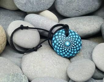 Turquoise Mandala Stone Necklace - Mandala Pendant - Painted Stone - Hand-Painted Mandala Rock - Paint Rock  - Chakra - Painted Necklace