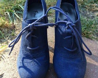 Retro Blue Suede Heels (USA Size 7)