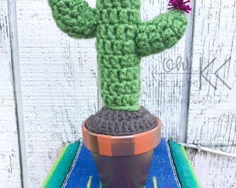 Crochet Cactus - Large cactus with maroon flower