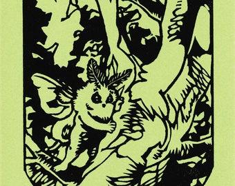 Son of Mothman linoleum relief print