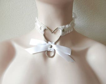 White Kitten Play Collar Necklace Heart Pet Neck Piece Satin Ribbon Closure Metal Ring Satin Bow Elastic and Faux Leather Straps Multisized
