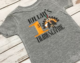 Baby's First Thanksgiving Outfit Personalized First Thanksgiving Shirt Gray Turkey Shirt Lil Turkey Baby Shirt My 1st Turkey Day 1st Gobble