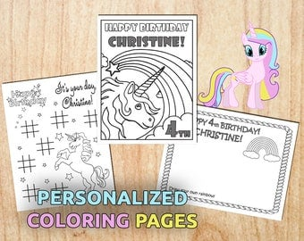 Personalized Unicorn Printable Coloring Pages / Party Activity / Digital / PDF