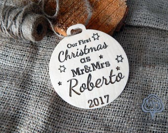 Our First Christmas Mr and Mrs Ornament Wedding Personalized 2017 Ornaments rustic Wedding Gift Our 1st Christmas Ornament