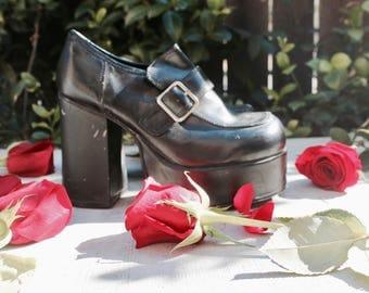 vtg 90s minimalist goth lolita platform Oxford chunky heel shoes 8