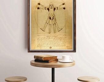 Vitruvian Storm Trooper, Star Wars Print, Star Wars Poster, Star Wars Wall Art, Star Wars Art, Wall Art, Parody Art, Stormtrooper Art Print
