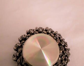 Vintage MARALETTE? Silver Tone with Silver Disk Brooch - 1960s