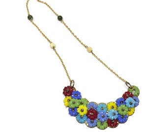 Arts and Crafts Necklace with Acrylic Flowers