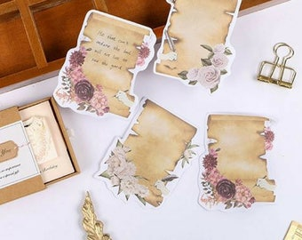 Vintage Style Paper Flowers Sticky Memo Pad ~ Retro Sticky Notes, Planner Accessories, Cute Stationery, School Supplies, Label Bookmark Gift