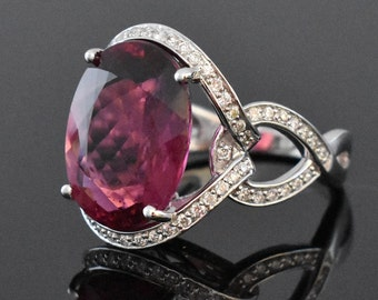 18K White Gold Pink Tourmaline & Diamond Ring | Engagement Ring | Wedding Ring | Statement Ring | One of a Kind Ring | Diamond Halo |