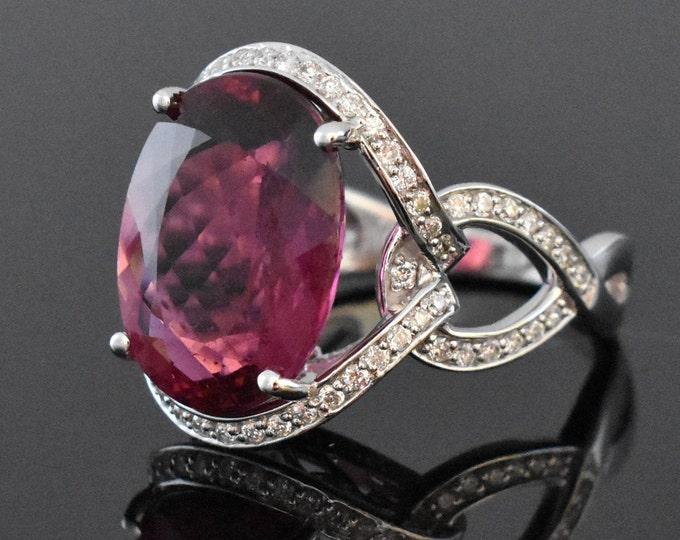 18K White Gold Pink Tourmaline & Diamond Ring   Engagement Ring   Wedding Ring   Statement Ring   One of a Kind Ring   Diamond Halo  