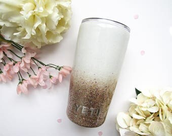 White and Champpagne Rose Gold Ombre Mixed Glitter Tumbler - Glitter Tumbler - Rose Gold Yeti - White and Rose Gold Ombre Tumbler - YETI